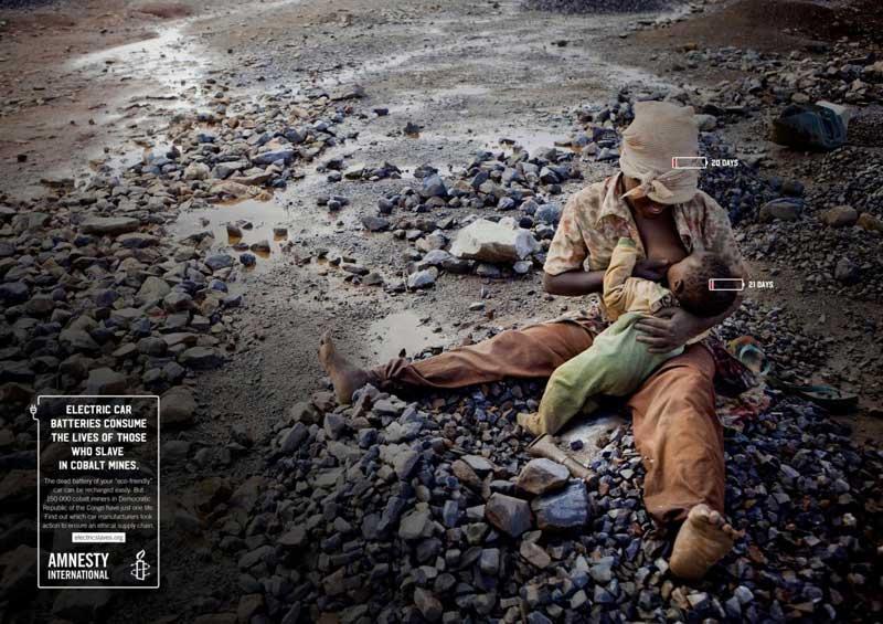 کمپین تبلیغاتی عفو بین الملل برای کارگران معادن کبالت کنگو