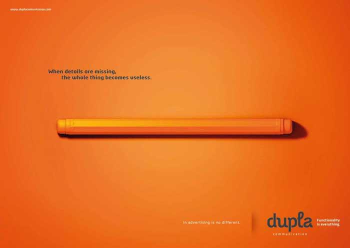 آگهی برای ترویج خود شرکت تبلیغاتی با این پیام: توجه نکردن به جزییات باعث بی فایده شدن همه چیز می شود.