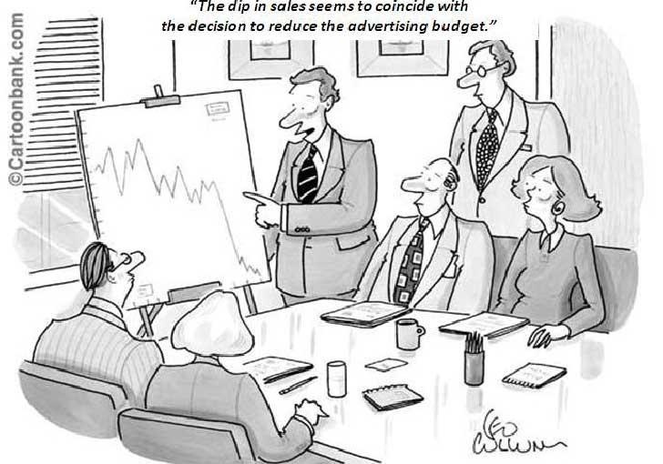 بنظر می رسد کاهش در فروش مصادف شده با تصمیم برای کاهش بودجه تبلیغات!  چرا باید تبلیغ کنیم؟ مزایای تبلیغات چیست؟ قسمت اول digital advertising social marketing and business cartoons 2 728