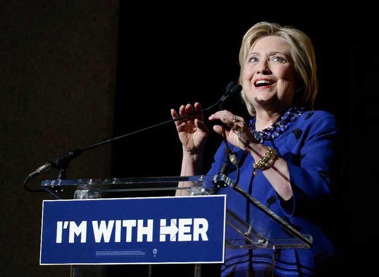 """این بار شعار کلینتون """" من با او هستم""""."""