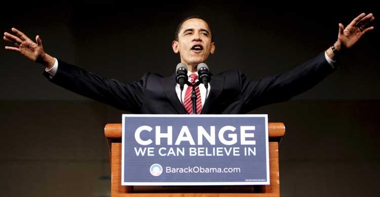 زمانی که باراک اوباما کارزار انتخاباتیش را برای ریاست جمهوری آغاز کرد همانند دونالد ترامپ بر یک شعار تاکید کرد.
