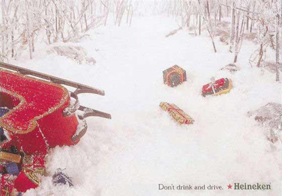 هاینیکن در یک برنامه هوشیارانه، ضد تبلیغی برای خود ساخته و به مخاطب که احتمالا بابانوئل است هشدار می دهد تا در حین سلامت براند. در این تبلیغ هم شاهد هستیم که ارتباط منطقی میان کارکرد کسب و کار و آن مناسبت خاص ایجاد برقرار شده است.