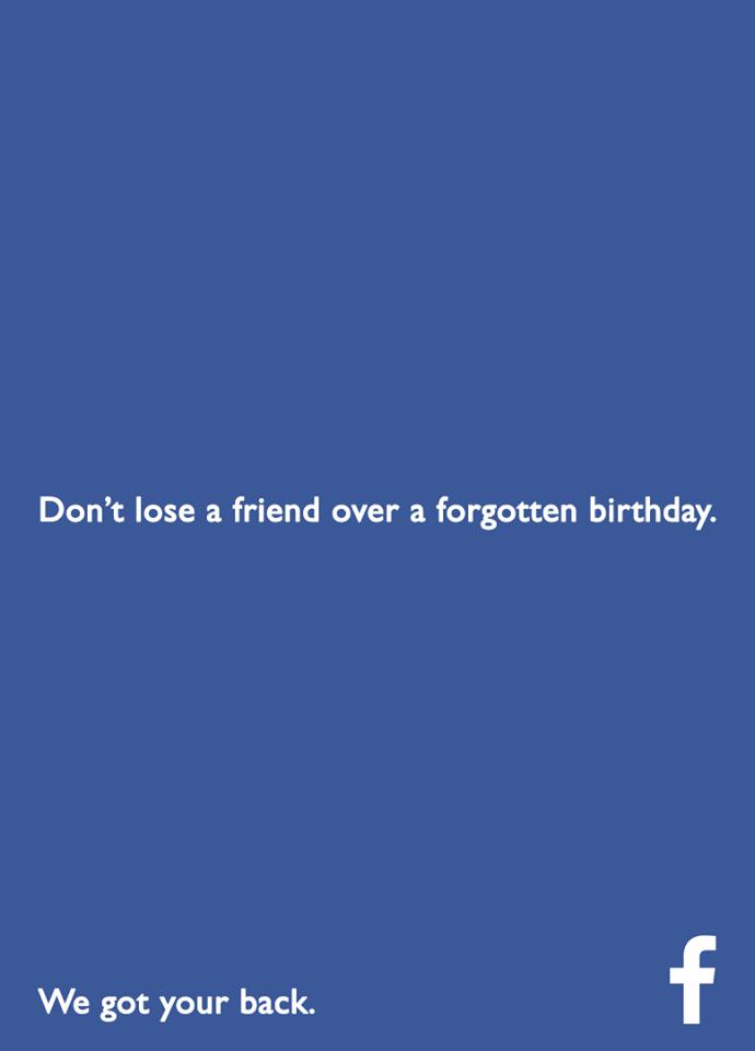 کپی این تبلیغ فیس بوک هم جالب است. که با اشاره به یادآوری روز تولد دوستان می گوید هوای شما را داریم.