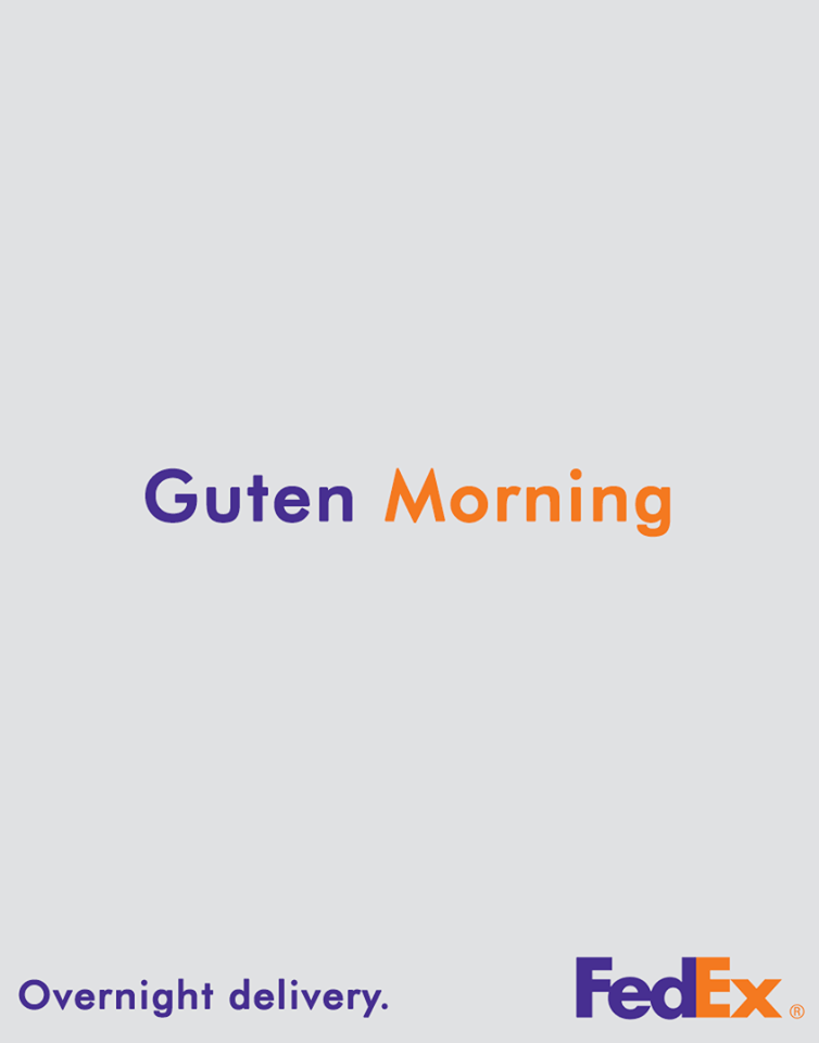 آقای سواشویلی در تبلیغ فدکس با بیان روز به خیر با ترکیب نیمی آلمانی و نیمی انگلیسی سعی دارد تا قدرت تحویل سریع و شبانه روزی فدکس را بیان می کند.