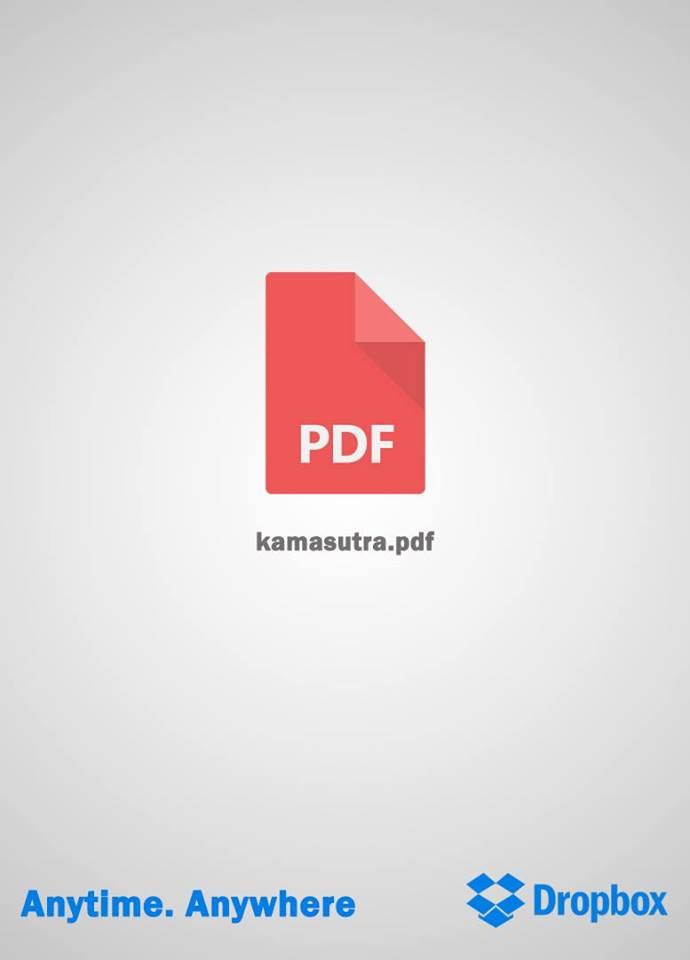 تبلیغ دراپ باکس که شعارش هرجا و هر زمان است به خوبی با گرافیک ساده تصویر یعنی یک فایل پی دی اف که نامش کاماسوتر ( یک زبان قدیمی هندی ) است تطابق دارد و آن را متمایز و جذاب کرده است.