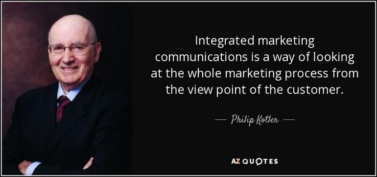 ارتباطات یکپارچه بازاریابی یا ارتباطات منسجم بازاریابی ( IMC ) از دیدگاه کاتلر مسیری برای نگریستن به کل فرآیند بازاریابی از دیدگاه مشتری